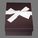 Brown box, cream tissue paper, natural cloth ribbon