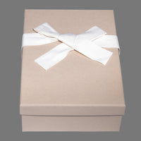 Kraft box, cream tissue paper, natural cloth ribbon
