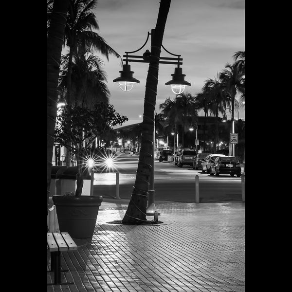 Looking out to Old San Carlos Blvd from Times Square before dawn. Fort Myers Beach, FL.