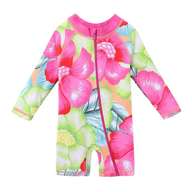 Bright Flower Hawaiian Rashguard One piece swimsuit for girls