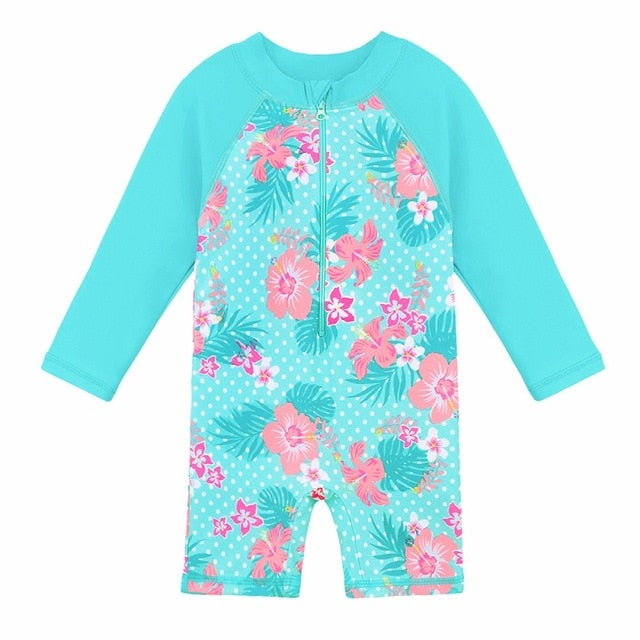 Super Blue super cute one piece romper rashguard swimsuit for girls