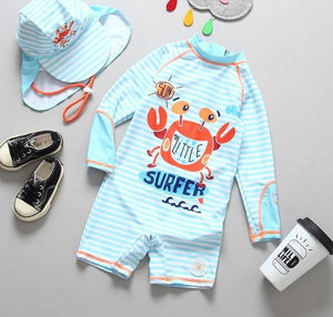 Crab Swim Rashguard Outfit with Hat