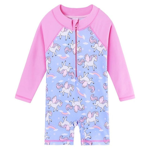 Popular Unicorn Print Rashguard one piece swimsuit for girls