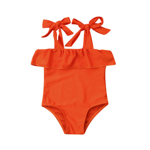 super cute orange one piece swimsuit girls