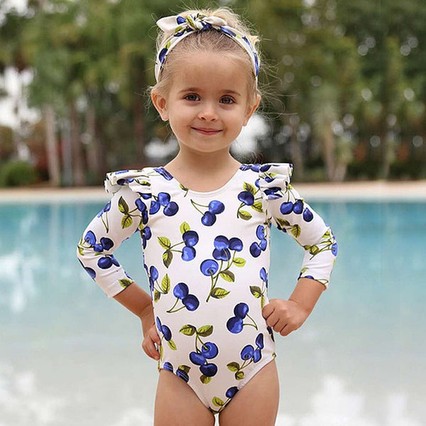 Long Sleeve One Piece Girls Swimsuit