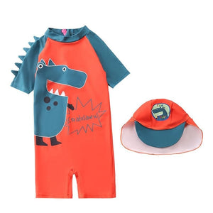 3D Red Dinosaur Romper One Piece Swimsuit