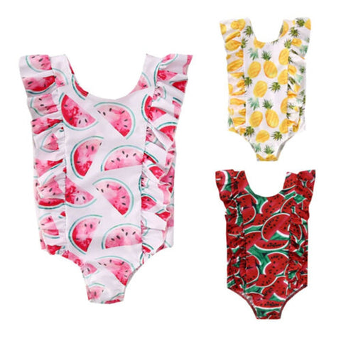 3 different fun ruffle fruity one piece swimsuits
