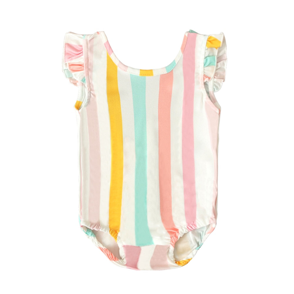 Retro Multicolored Striped One Piece Girls Swimsuit