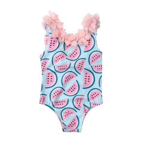 Boa ruffle watermelon one piece swimsuit for girls