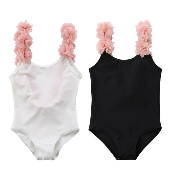 super cute ballerina ruffle black and pink or white and pink one piece swimsuit for girls
