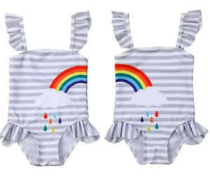 Matching rainbow baby swimsuits for girls