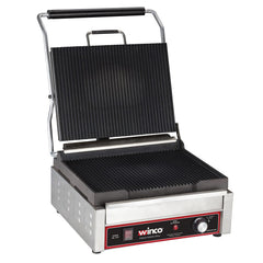 Winco Single Commercial Panini Press w/ Cast Iron Grooved Plates, 120v