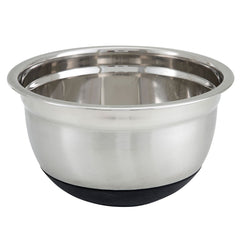 Winco 5 qt German Mixing Bowl w/ Mirror Finish Stainless, Non-Slip Silicon Base