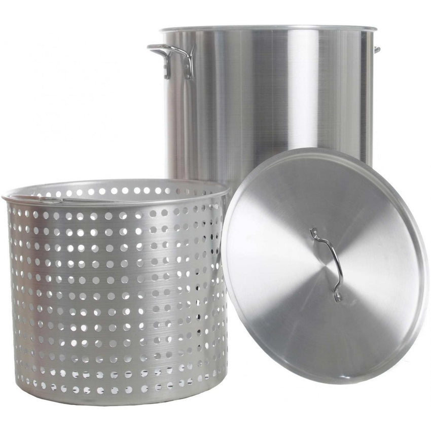 100 QT.  Boiling Pot w/perforated Aluminum Basket - Richard's Supply Inc