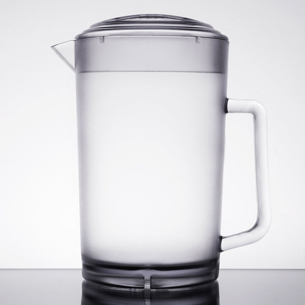 "Water Pitcher, 64 oz., 7-1/2"" dia. x 8-1/2""H, with lid, SAN, clear, NSF"