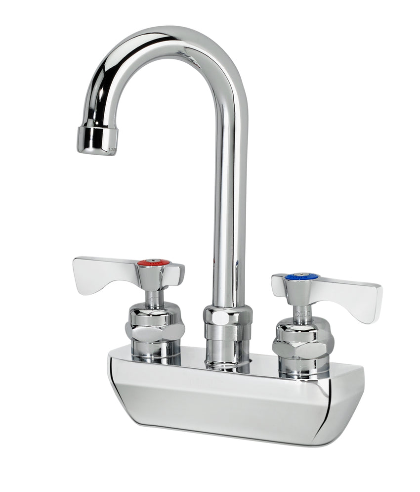 "Krowne Royal Series 4"" Wall Mount Faucet with 3-1/2"" Wide Gooseneck Spout"