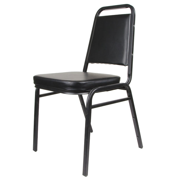 Royal Industries Square Back Stack Chair w/ Steel Frame & Black Vinyl Upholstery