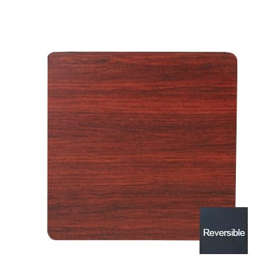 Royal Industries Square Reversible Black & Mahogany Wood Grain Table Top, 30 x 30""