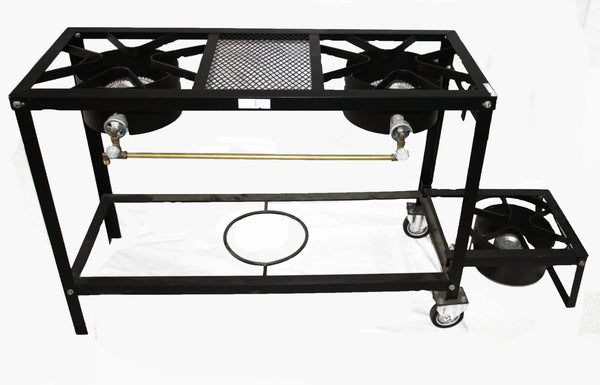 3 BURNER STOVE ON WHEEL CART – 2 LOW PRESSURE – 1 HIGH PRESSURE FOLD OUT