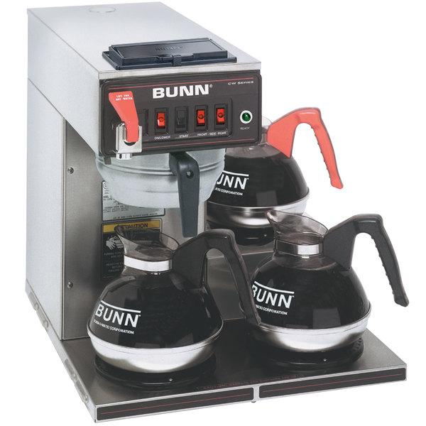 Automatic 12 Cup Coffee Brewer with 3 Lower Warmers and Stainless Steel Funnel