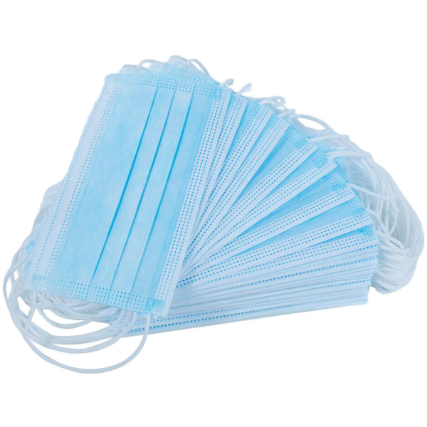 3 PLY DISPOSABLE PROTECTIVE FACE MASK WITH ELASTIC EARLOOP, BLUE (50 per pack)