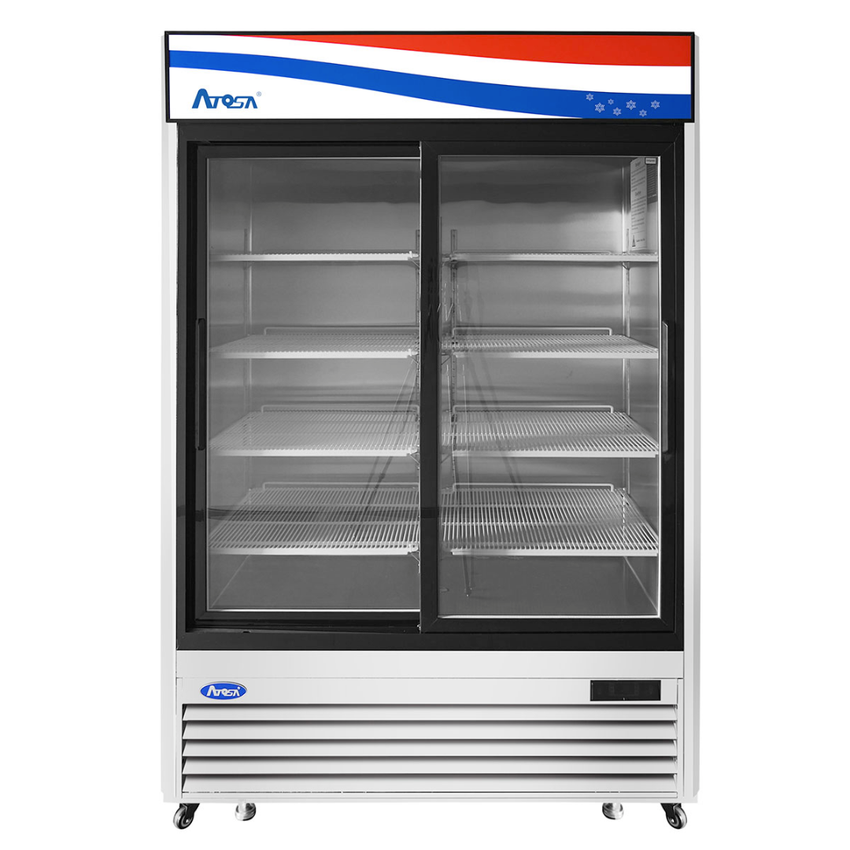 Atosa Bottom Mount (2) Sliding Glass Door S/S In/Out Refrigerator