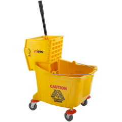 Winco 36 qt Mop Bucket Combo - Side Press Wringer, Yellow