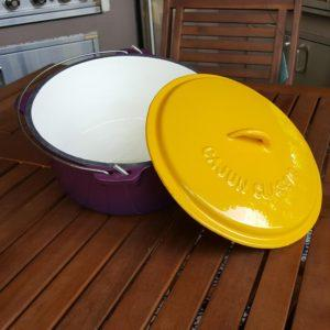 4.5 qt dutch oven enamel purple and gold