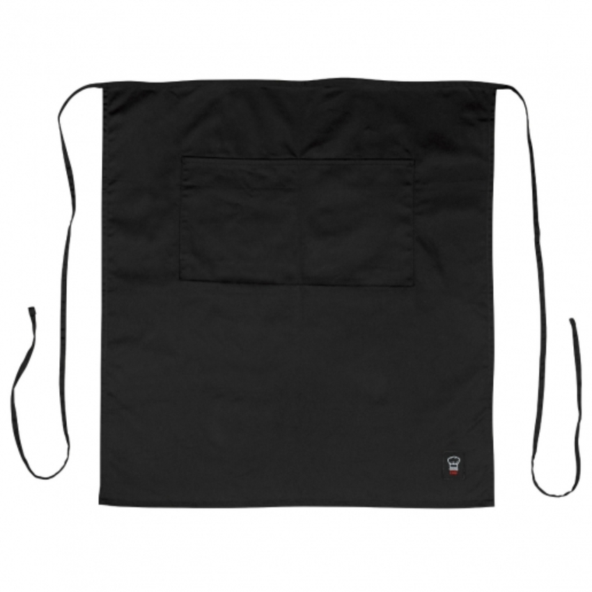 "Winco Black 32"" L x 28"" W Signature Chef Poly/Cotton Full-Length Bistro Apron With 2 Pockets"