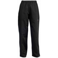 Winco UNF-2KL Black Large Signature Chef Relaxed Universal Fit Poly/Cotton Elastic Drawstring Waist Chef Pants With 2 Side-Seam Pockets