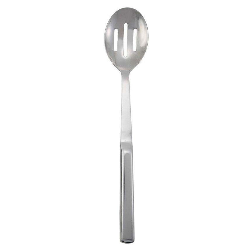 "11 3/4"" Hollow Stainless Steel Handle Slotted Serving Spoon - Richard's Supply Inc"