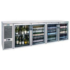 "Krowne Four Section Back Bar Cooler 108"" Wide, Glass Door - Richard's Supply Inc"
