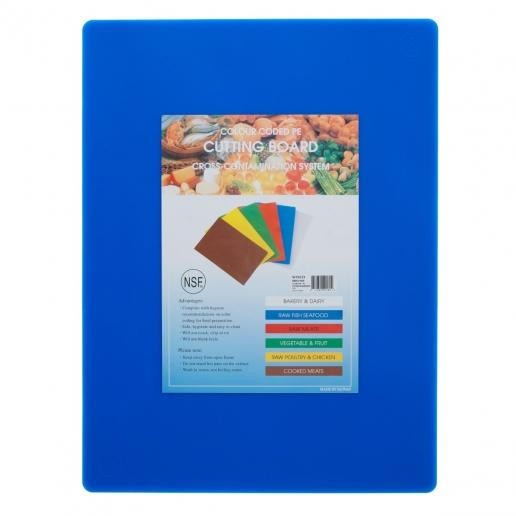 "15"" x 20"" Blue Plastic Cutting Board - Richard's Supply Inc"