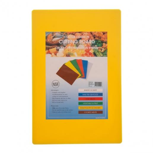 "15"" x 20"" Yellow Plastic Cutting Board - Richard's Supply Inc"