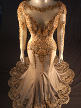 Load image into Gallery viewer, Gold Fitted Evening Gown