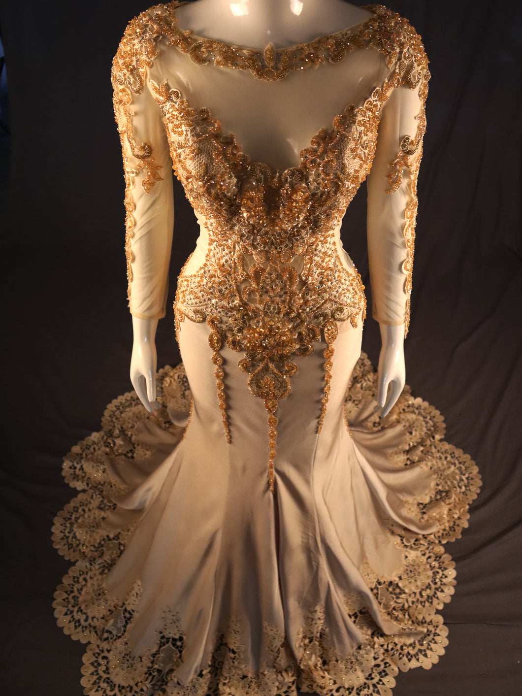 Gold Fitted Evening Gown