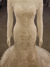 Load image into Gallery viewer, Fitted Ivory/Gold Bridal Gown, Long Sleeve, Lace with boat neck