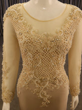 Load image into Gallery viewer, Beige, Fitted Long Sleeve, with Pearl work