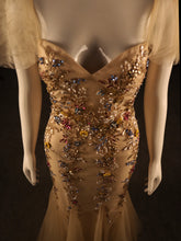 Load image into Gallery viewer, Gold Mermaid Boob tube, Tule skirt & off-shoulder, Fine beadwork