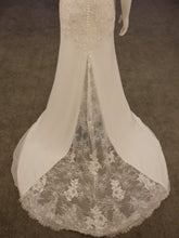 Load image into Gallery viewer, Chiffon Fitted Bridal Gown, Flow with Lace train, Boat neck