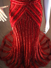 Load image into Gallery viewer, Red, Fitted, Tinsel Evening Gown