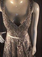 Load image into Gallery viewer, Silver, Soft A-Line, Sleeveless, Stone & Lace work