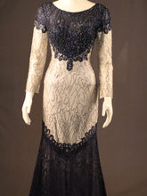 Load image into Gallery viewer, Navy Silver, Fitted Evening Gown
