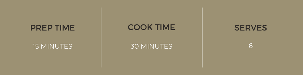 Prep time: 15 minutes, Cook time: 30 minutes, Serves: 6