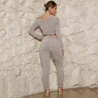 Women Long Sleeve Crop Top and Long Pants Two-piece Sports Set