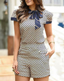 Vintage Print Women Two Piece Set Elegant O Neck Ribbons Shirt