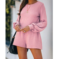 Set Casual Long Sleeve Crop Top Shirt Loose And Biker Short