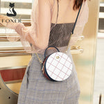 FOXER Mini Round Handbag Lady Split Leather Circular Crossbody Bag