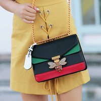 Bee Pu Leather Crossbody Bags Chains Luxury Handbags Designer