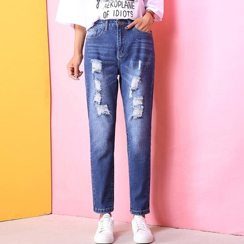 Holes High Waisted Mom Jeans Retro Solid